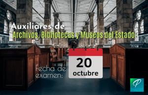 plazas auxiliar archivos bibliotecas museos